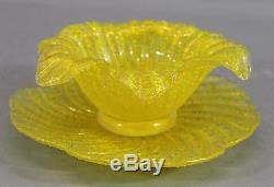 Vintage Murano Fratelli Toso OVERSHOT Yellow Glass, Flower Fruit Dessert Bowls