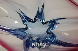 Vintage Murano Glass Fruit Bowl Purple and Blue Sommerso Glass Art Centerpiece