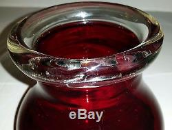 Vintage Murano Hand Blown Ruby Red Clear Rim Art Glass Vase Object Bowl Italy
