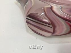 Vintage Murano Pink, White & Wine Clear Art Glass Centerpiece Bowl, 16 Wide