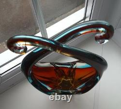 Vintage Murano Sommerso art glass sculptural bowl Circa 1960's