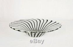 Vintage Murano Style Art Glass Bowl With Black And White Stripes