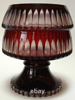 Vintage Ruby Cut To Clear Art Glass Compote Bowl Bohemian Crystal Cranberry Red