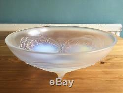 Vintage Signed Sabino France Art Glass Rare Lotus Design Shallow Bowl Tray 26cm