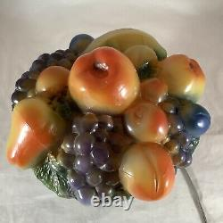 Vintage Tiffin Art Glass Fruit Bowl Lamp Puffy Shade Working 9.5 Tall