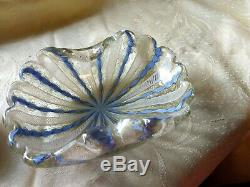 Vintage Venetian Art Glass Lighter and Bowl/Ashtray Latticino and Gold Dust