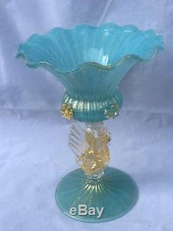 Vintage Venetian Baby Blue Gold Flecked Murano Hand Blown Glass Bowl /Compote