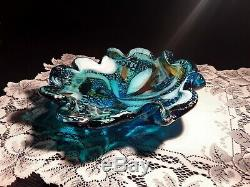 Vintage Venetian Murano Hand Blown Made in Italy Art Glass Bowl