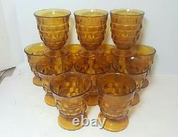 Vintage WHITEHALL Amber Glass PUNCH BOWL 12 CUPS Indiana Art Party Tiki Drinks