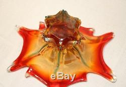 Vintage hand blown Italian art glass centerpiece bowl Murano Venetian vase dish