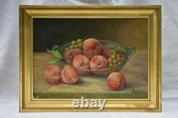 Vintage still life painting peaches and grapes in a glass bowl. M de Guibert