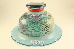 Vtg Kosta Boda Art Glass Cancan Can Can Footed Compote Bowl Signed Kjell Engman