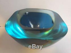 Vtg Very Heavy Art Glass Bowl Dish Smooth Texture Mid Century Modern Blue Green