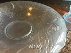 Walther Art Deco blue Glass Arabella Semi Nude Lady flower frog matched Bowl Set