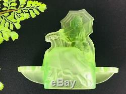 Walther & Sohne Marina Glass Float Bowl, Vaseline Glass Figurine, Art Deco