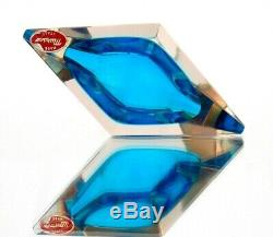 X RARE Unusual Art Glass Faceted UFO Space Age Block Bowl Private Collection